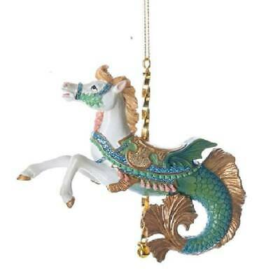 Kurt Adler Carousel Collectible White Green Hippocampus Mythical Horse