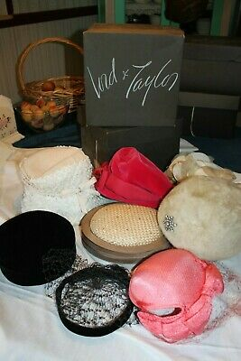 Fabulous lot of 8 Vintage Ladies Hats Lots of Millinery mixed colors