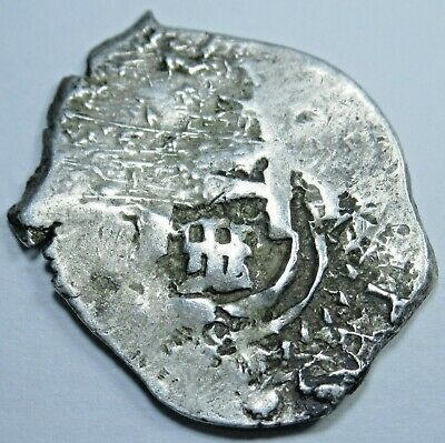1715 Spanish 1 Reales Piece of 8 Real Colonial Antique Pirate Treasure Cob Coin
