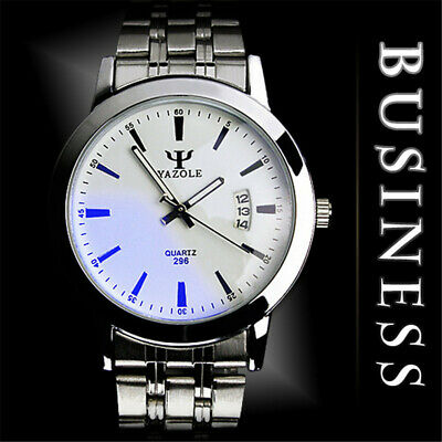 Luxury Fashion Stainless Steel Band Date Quartz Sport Mens Analog Wrist Watch@IC