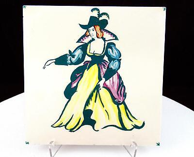 """T&R Boote England Fancy Dressed Lady 6"""" Square Tile 1890-1906"""