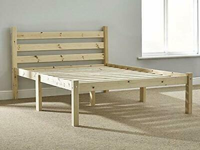 Double Pine Bed Wooden Frame 4 Ft with Extra Wide Base Slats and Centre Rail