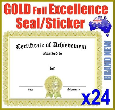 24 Embossed Gold Foil Certificate Seals Labels Stickers Excellence Reward Awards