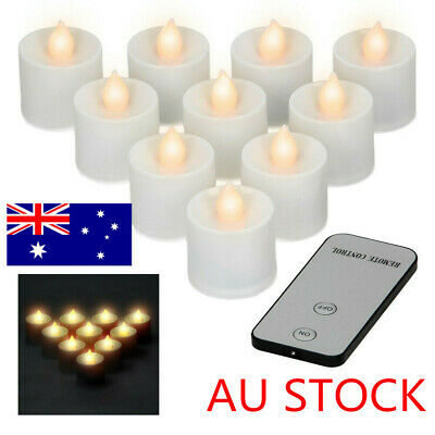 1/12x LED Tea Lights With Remote Control Batteries Flashing Tea Light Candles AU