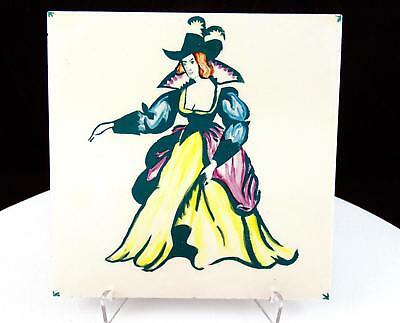 "T&R Boote England Fancy Dressed Lady 6"" Square Tile 1890-1906"