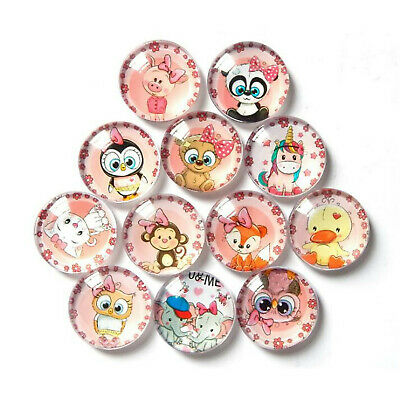 Assorted Size Glass Cartoon Animal Cabochon Flatback DIY Accessories 10-50pcs