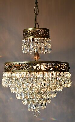 antique vintage crystal chandelier, brass pendant, ceiling lighting home lights