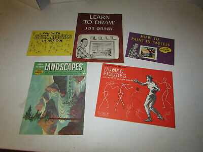 Vintage Learn To Draw 5 Book Lot By Jon Gnagy