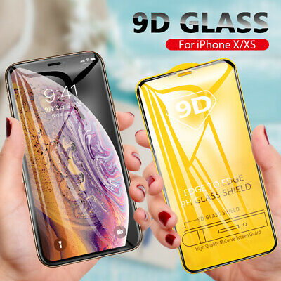 9D Full Curved Tempered Glass Screen Protector For iPhone 6 7 8 Plus X Xs Max XR