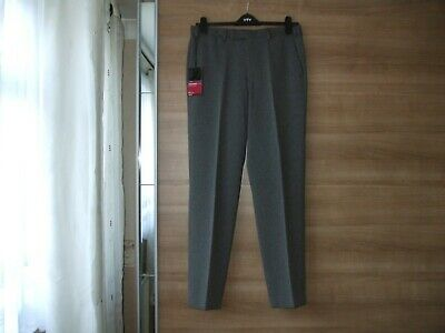BNWT Mens M&S Smart Flat Front Grey Trousers With Active Waist Size W 34 L 33