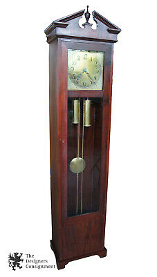 Antique Colonial Mfg Co Empire Style Mahogany Grandfather Clock German Movement