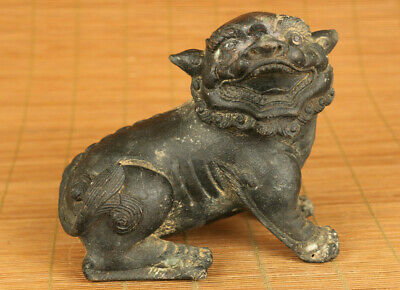 Chinese old bronze hand casting Kirin statue figure netsuke noble collectable