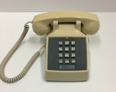 Vintage 1980's Touch Tone Push Button Tan /Beige Telephone