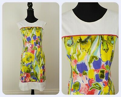 French Retro VINTAGE 1980s Paul Brial  Painted Flower Shift Dress UK 14 Fr 42