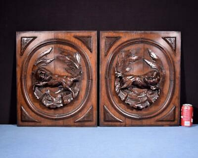 *Pair of Antique French Hunting Style Carved Panels in Solid Oak Wood w/Dogs