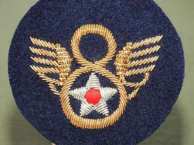 """US Army AAF WW2 EASTMAN BRITISH MADE """"STUBBY WING"""" BULLION 8TH AIR FORCE PATCH"""