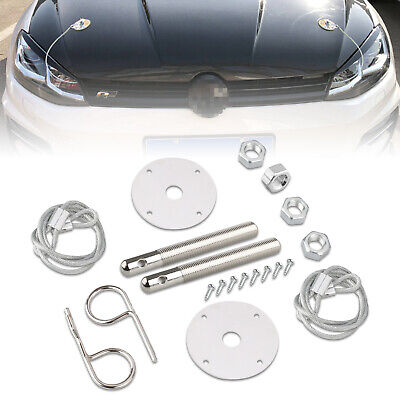 Stainless Steel Chrome Mount Hood Pin Pins Plate Bonnet Lock Clip Kit Universal