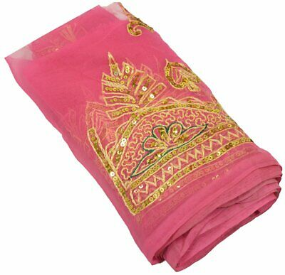 Antique Vintage Saree Border Indian Craft Trim Embroidered Hot Pink Ribbon Lace