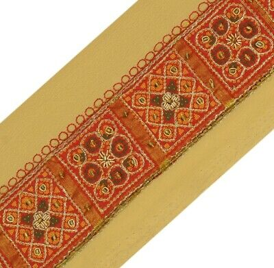 Vintage Sari Border Indian Craft Trim Antique Hand Beaded Woven Ribbon Lace Red