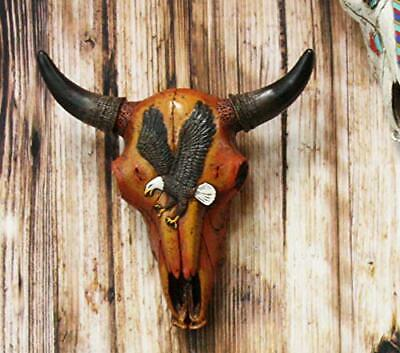 """10.5""""L Western Southwest Steer Bison Bull Cow Skull With Bald Eagle Wall Decor"""