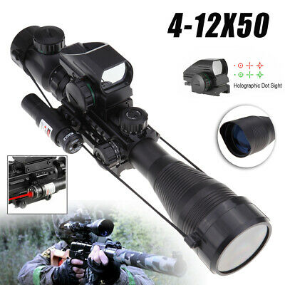 3 in1 Tactical 4-12X50 Rifle Scope with Holographic 4 Reticle Sight & Red Laser