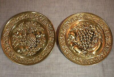 Vintage Pair of Brass Wall Plates Embossed w/Fruit Designs Made in England
