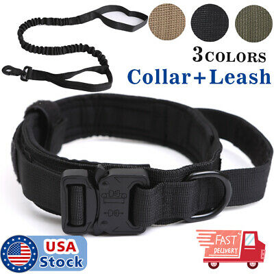 K9 Tactical Dog Collar Heavy Duty Military Dog Collar w/Dog Leash Metal Buckle
