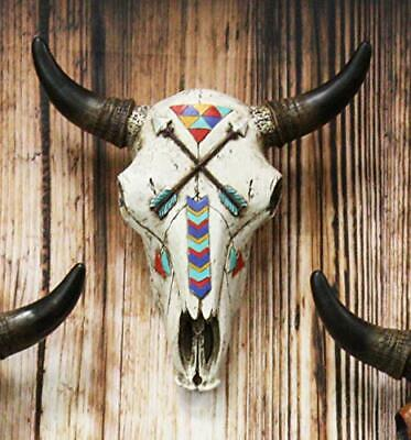"10""L Southwest Steer Bison Bull Cow Skull With 2 Crossed Arrows Wall Head Decor"