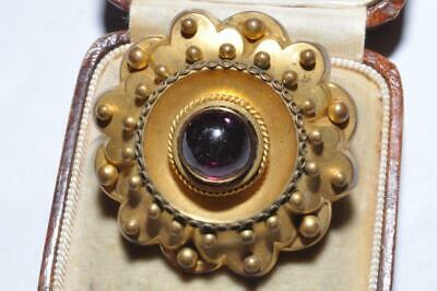 Beautiful Vintage Old Gold Plate Brooch With. Central Deep Red Stone