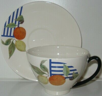 Gien La Ronde Des Fruits Large Coffee Cup and Saucer