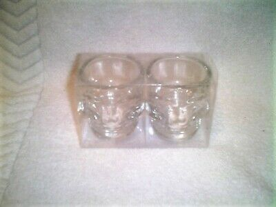 Set Of 2 Skull Shaped Clear Shot Glasses - Halloween, Parties, Barware - New