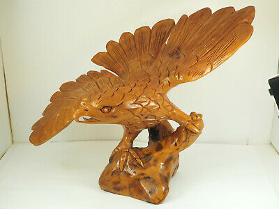 "Vintage Hand Carved Majestic landed Wooden Eagle Statue 16"" spread wings #16"