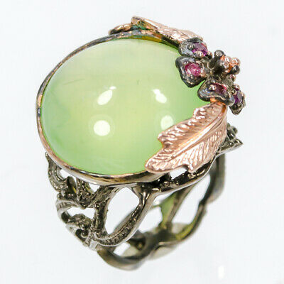 Unique Jewelry28ct+ Natural Prehnite 925 Sterling Silver Ring Size 7.5/AZR01689