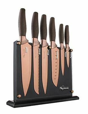 New England Cutlery NE8807 7 Piece Titanium-Coated Knife Set with Invisible W...