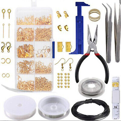 1set Large Jewellery Making Kit Pliers Silver Beads Wire Starter Tool Home DIY