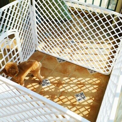 White Plastic Indoor Pet Dog Cat Play Pen 4 Panel Portable Safety Fence Yard US