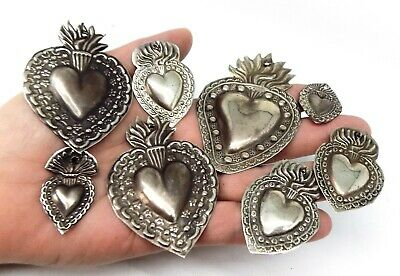 ANTIQUE LOT OLD 8 Sacred Heart Jesus Ex Voto MIRACLE MILAGRO SILVERED J-6