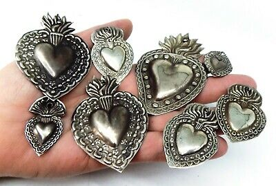 ANTIQUE LOT OLD 8 Sacred Heart Jesus Ex Voto MIRACLE MILAGRO SILVERED J-10