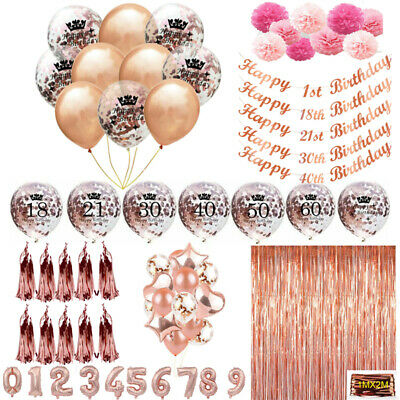 Rose Gold Happy Birthday Bunting Banner Balloons Foil Age Balloon Party Decor
