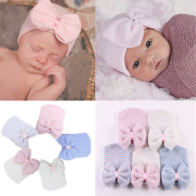 Baby Hats Girls Boy Infant Striped Soft Hat with Bow Cap Hospital Newborn Beanie