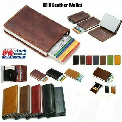 Men Antitheft Wallet Auto RFID Blocking Pop-up Leather Card Holder Metal Purse