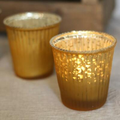 x12 Ribbed Tea Light Candle Holder Frosted Gold Wedding Table Decoration 12 PACK