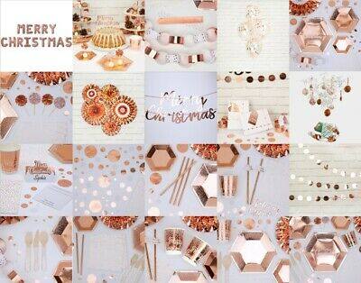 Merry Christmas Rose Gold & White - Party Supplies - Tableware - NEW - Christmas