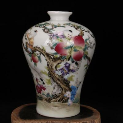 Chinese old porcelain vase Pink Nine sons climbing peach plum vases mei Bottle