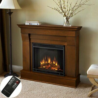 1350W Electric Fireplace Heater Fire Freestanding Flame Effect Stove & 7d