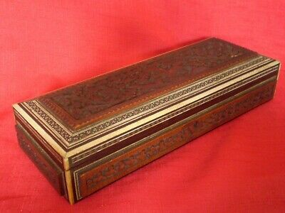 Stunning Antique Carved Wooden Box, Running Dogs Design
