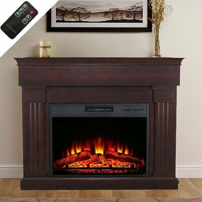 1350W Electric Fireplace Suite with Surround LED Burning Fire Flame Grain u2