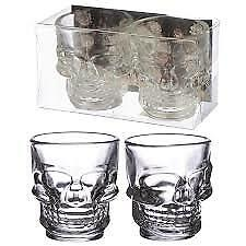 Skull Head Shot Glasses New Set Of 2  Perfect For Your Halloween Party Vodka