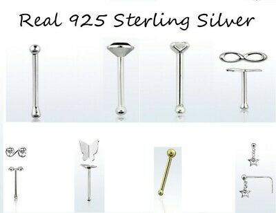 Nose Stud Real 925 Sterling Silver Pin Small Gem Screw Nose Studs Piercing Pin