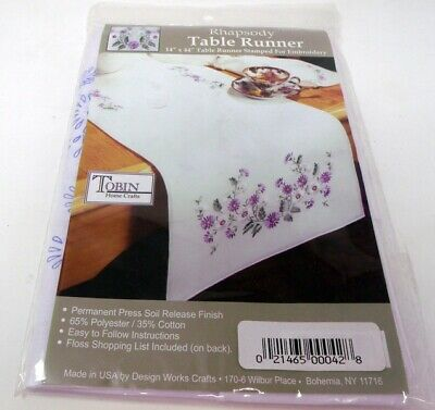 """Tobin Stamped Embroidery Colorful RHAPSODY 15"""" x 44"""" Table Runner Dresser Scarf"""